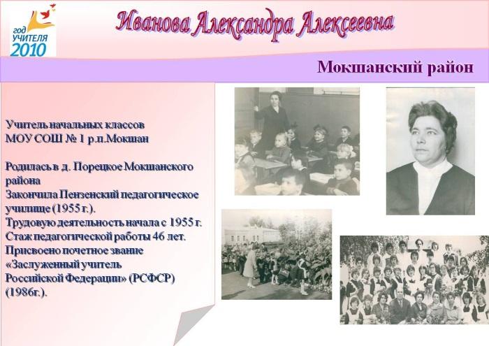 Иванова Александра Алексеевна, Заслуженный учитель Российской Федерации