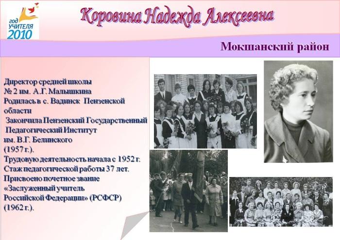 Коровина Надежда Алексеевна, Заслуженный учитель Российской Федерации